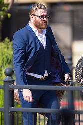 Witness Daniel O'Leary leaves Sergeant Ian Wells' disciplinary hearing at the Empress State Building in London, where Wells faces accusations of gross misconduct. London, August 19 2019.