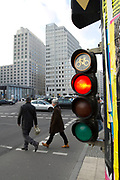A bicycle traffic light shows red at Potsdamer Platz in Berlin, Germany, April 05, 2012.