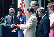 President Ronald Reagan at a ceremony for the Olympic coin on June 14, 1984<br /> by Dennis Brack
