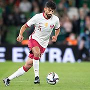 DUBLIN, IRELAND:  October 12:  Tarek Salman #5 of Qatar in action during the Republic of Ireland V Qatar International friendly match at Aviva Stadium on October 12th, 2021 in Dublin, Ireland. (Photo by Tim Clayton/Corbis via Getty Images)