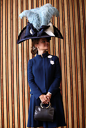 Edite Ligere from London wearing a Sarah Marshall Milliner for John Boyd Hats during day one of Royal Ascot at Ascot Racecourse