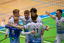 Bennie Tuinstra of Lycurgus, Luke Herr of Lycurgus, Thomas Douglas Powell of Lycurgus celebrate during the league match between Active Living Orion vs. Amysoft Lycurgus on March 20, 2021 in Doetinchem.