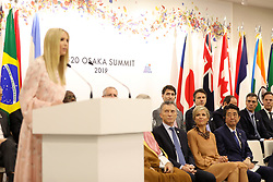 """Ivanka Trump (Advisor to the President of the United States), Mauricio Macri (Argentina's President), Queen Maxima of the Netherlands, Shinzo Abe (Japanese Prime Minister) - Side event organized by the Japanese Prime Minister, on the theme """"Promoting the place of women at work"""" at the Intex Osaka congress center at the G20 summit in Osaka, Japan, on June 29, 2019. Photo by Dominque Jacovides/Pool/ABACAPRESS.COM"""