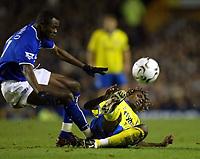 Photo. Aidan Ellis.<br /> Everton v Birmingham City.<br /> FA Barclaycard Premiership.<br /> 28/12/2003.<br /> Everton's Alex Nyarko picked up an injury in this challenge with  Birmingham's Aliou Cisse