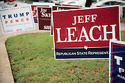 A campaign sign for Jeff Leach outside a polling location in Plano, Texas on November 8, 2016. (Cooper Neill for The Texas Tribune)