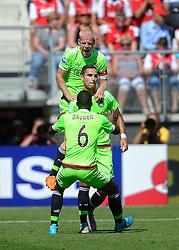 09-08-2015 NED: AZ - Ajax, Alkmaar<br /> Ajax verslaat AZ vrij eenvoudig met 3-0 / Anwar El Ghazi #21 scoort de 1-0 en viert dit ,et Davy Klaassen #10, Riechedly Bazoer #6.