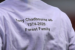 Nottingham Forest wear shirts for supporter Tony Chadbourne who past away in 2020 - Mandatory by-line: Robbie Stephenson/JMP - 20/01/2021 - FOOTBALL - City Ground - Nottingham, England - Nottingham Forest v Middlesbrough - Sky Bet Championship