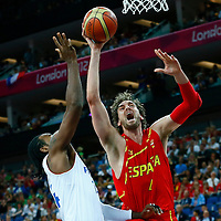 08 August 2012: Spain Pau Gasol is fouled by Ronny Turiaf during 66-59 Team Spain victory over Team France, during the men's basketball quarter-finals, at the 02 Arena, in London, Great Britain.