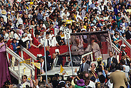 Pope john blesses crowd at Candlestick Park during a visit of Pope John Paul II to the USA in 1987.  Photograph by Dennis Brack...Photograph by Dennis Brack bb 28
