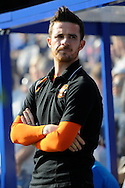 Blackpool Caretaker Manager Barry Ferguson watches his side warm up before kick off.  Skybet football league championship match , Queens Park Rangers v Blackpool at Loftus Road in London  on Saturday 29th March 2014.<br /> pic by John Fletcher, Andrew Orchard sports photography.