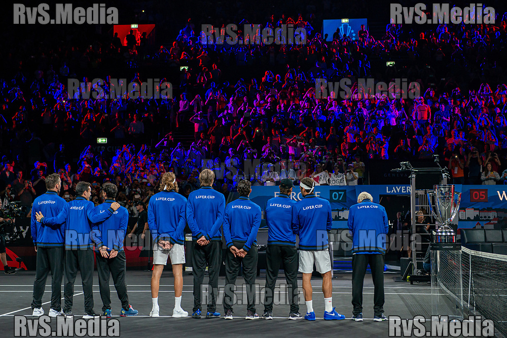 GENEVA, SWITZERLAND - SEPTEMBER 22: Team Europe salutes to the crowd during Day 3 of the Laver Cup 2019 at Palexpo on September 20, 2019 in Geneva, Switzerland. The Laver Cup will see six players from the rest of the World competing against their counterparts from Europe. Team World is captained by John McEnroe and Team Europe is captained by Bjorn Borg. The tournament runs from September 20-22. (Photo by Robert Hradil/RvS.Media)