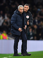Football - 2019 / 2020 Premier League - Tottenham Hotspur vs. Chelsea<br /> <br /> Fourth Official Andre Marriner with Tottenham Hotspur Head Coach Jose Mourinho after Son Heung-Min is dismissed, at The Tottenham Hotspur Stadium.<br /> <br /> COLORSPORT/ASHLEY WESTERN