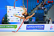 Margarita Mamun of Russia competes during the rhythmic gymnastics individual ribbon final of the World Cup at Adriatic Arena on April 3, 2016 in Pesaro, Italy. Margarita was born 1 November 1995 in Moscow, Russia, she is a retired Russian individual rhythmic gymnast.<br /> In Rio Olympic games 2016 won the gold medal in All-around.