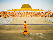 """22 FEBRUARY 2016 - KHLONG LUANG, PATHUM THANI, THAILAND: A monk walks into the chedi while Buddhist monks sit around the chedi during Makha Bucha Day at Wat Phra Dhammakaya.  Makha Bucha Day is a public holiday in Cambodia, Laos, Myanmar and Thailand. Many people go to the temple to perform merit-making activities on Makha Bucha Day, which marks four important events in Buddhism: 1,250 disciples came to see the Buddha without being summoned, all of them were Arhantas, Enlightened Ones, and all were ordained by the Buddha himself. The Buddha gave those Arhantas the principles of Buddhism, called """"The ovadhapatimokha"""". Those principles are:  1) To cease from all evil, 2) To do what is good, 3) To cleanse one's mind. The Buddha delivered an important sermon on that day which laid down the principles of the Buddhist teachings. In Thailand, this teaching has been dubbed the """"Heart of Buddhism."""" Wat Phra Dhammakaya is the center of the Dhammakaya Movement, a Buddhist sect founded in the 1970s and led by Phra Dhammachayo. The temple is famous for the design of its chedi, which some have likened to a flying saucer or UFO.         PHOTO BY JACK KURTZ"""