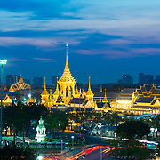 Bangkok panorama with Grand Palace and Sanam luang park at night