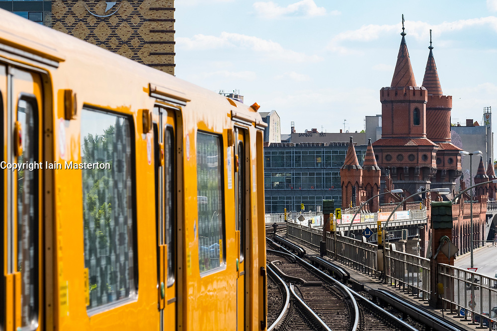 Berlin U-Bahn subway train at Warschauer Strasse station in berin, Germany