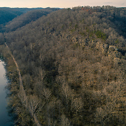 Hills and forests and the Little Kanawha River in the Little Kanawha River Wildlife Management Area near Elizabeth, West Virginia.Spring.