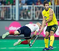 ANTWERP -    Nick Catlin scores for GB during  the  semifinal hockeymatch   Australia vs Great Britain (3-1) . right Kiel Brown .   WSP COPYRIGHT KOEN SUYK