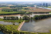 Nederland, Limburg, Gemeente Maasgouw, 27-05-2013; Stuw bij Linne. Overlaat in de voorgrond. Prins Clauscentrale in de achtergrond.<br /> Weir and spillway at Linne. Meuse and Meuse-lakes near Roermond.luchtfoto (toeslag op standard tarieven);<br /> aerial photo (additional fee required);<br /> copyright foto/photo Siebe Swart.