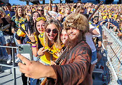 Sep 11, 2021; Morgantown, West Virginia, USA; The West Virginia Mountaineers mascot takes a photo with students during the first quarter against the Long Island Sharks at Mountaineer Field at Milan Puskar Stadium. Mandatory Credit: Ben Queen-USA TODAY Sports