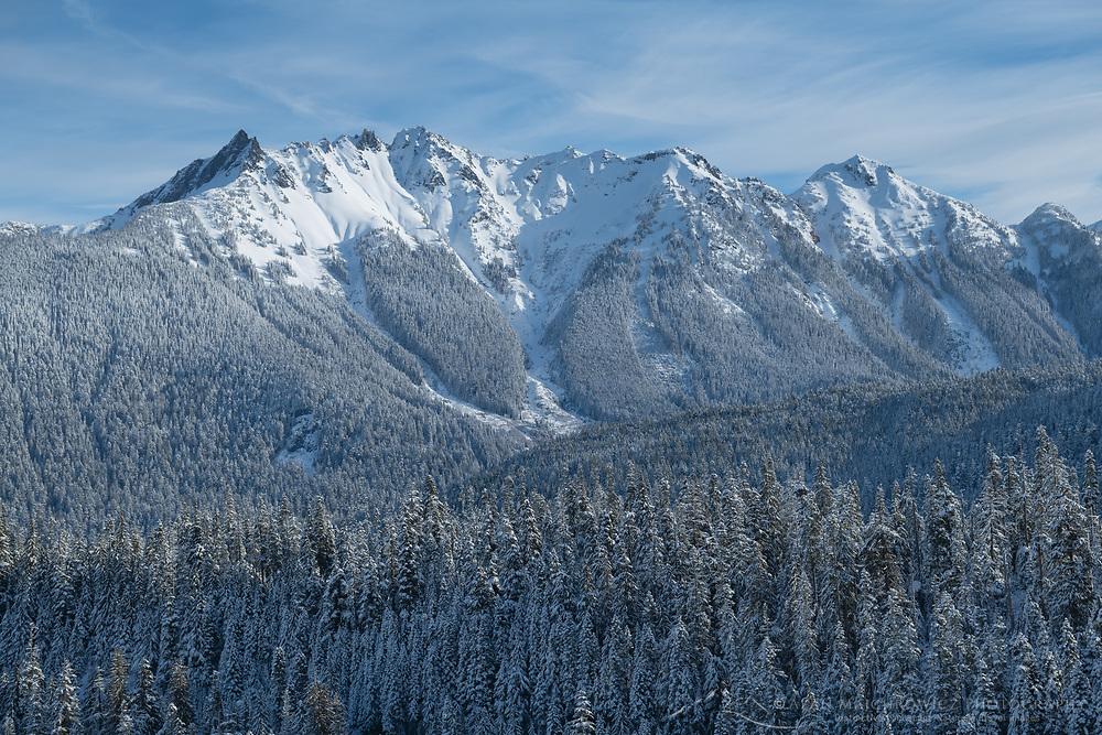 Nooksack Ridge in winter seen from Mount Baker Highway, North Caascades Washington
