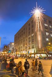 North America, United States, Washington,  Seattle, Giant holiday star at  Westlake Park
