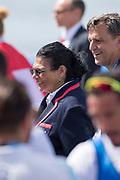 Sarasota. Florida,  Anita DeFrantz, in with the medlalist. USA.Sunday Final's Day at the  2017 World Rowing Championships, Nathan Benderson Park<br /> <br /> Sunday  01.10.17   <br /> <br /> [Mandatory Credit. Peter SPURRIER/Intersport Images].<br /> <br /> <br /> NIKON CORPORATION -  NIKON D4S  lens  VR 500mm f/4G IF-ED mm. 320 ISO 1/1600/sec. f 5
