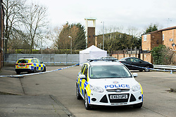 © Licensed to London News Pictures. 29/02/2016, Essex UK. Police preserve the scene after a murder investigation began in Basildon. Officers were called to the residential neighbourhood of Pincey Mead on Saturday evening after a body was found in a parked Audi A4. There was internal fire damage to the vehicle. Photo credit : Simon Ford/LNP