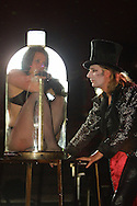 Preview photographs of the Circus of Horrors which opens on the Edinburgh Festival Fringe tonight and runs until 27th August at Leith Links. Picture shows performer Satanica (Nicci Christian) who pours herself into a bottle during the show with ringmaster Dr Haze.........