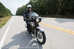 Vinnie Grasser of Florida on his 1916 Harley-Davidson during the Motorcycle Cannonball Race of the Century. Stage-6 from Cape Girardeau, MO to Springfield, MO. USA. Thursday September 15, 2016. Photography ©2016 Michael Lichter.