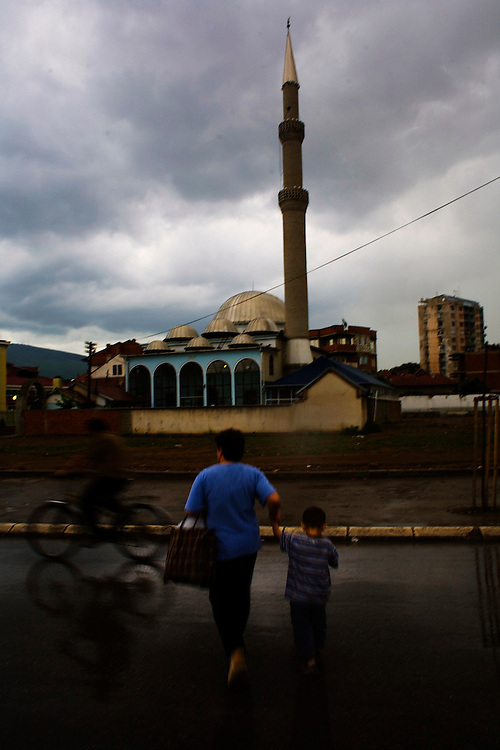 Central Mosque of Mitrovica during a rainstorm. Kosovo.