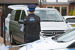 ©Licensed to London News Pictures 14/05/2020<br /> Dartford, UK. A funeral directors private ambulance on scene. Police have launched a murder investigation after a man was found this morning stabbed to death in Dartford, Kent.  Photo credit: Grant Falvey/LNP