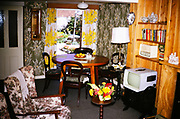 Holiday cottage home interior design and furniture including portable television and radio, England 1966