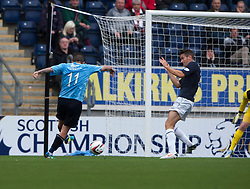 Dundee's Ryan Conroy scoring their goal.<br /> Falkirk 3 v 1 Dundee, 21/9/2013.<br /> ©Michael Schofield.