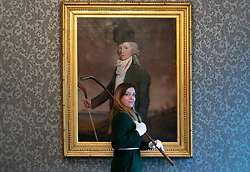 A Sporting Sale will take place at Bonhams 22 Queen Street, Edinburgh on Wednesday 24 October at 10.00 am.  <br /> <br /> Items being offered include The Portrait of John Campbell of Saddell, circle of Sir Henry Raeburn RA, expected to make £40,000 to £60,000 and The Pierre Horwitz golfing collection covers the period from the early part of the 19th century to the 1920s, and concentrates especially on the manufacture of clubs and balls and rare patented designs of both.  <br /> <br /> Pictured: Bethan Koller holding Tom Dunn: A Long Nose Long Sppon club from circa. 1880 similar to the one in the painting The Portrait of John Campbell of Saddell, circle of Sir Henry Raeburn RA, which is expected to make £40,000 to £60,000