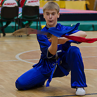 Pavel Voronov performs his routine during the 3rd International Chan Wu, Traditional Kung Fu and Wu Shu Championships in Budapest, Hungary on November 24, 2012. ATTILA VOLGYI