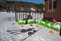 """With limited """"lodge"""" time skiers participating in the Outreach program at Gunstock store their belongings in bags outside of the Stockade Lodge during their lessons.  (Karen Bobotas Photo/for The Laconia Daily Sun)"""