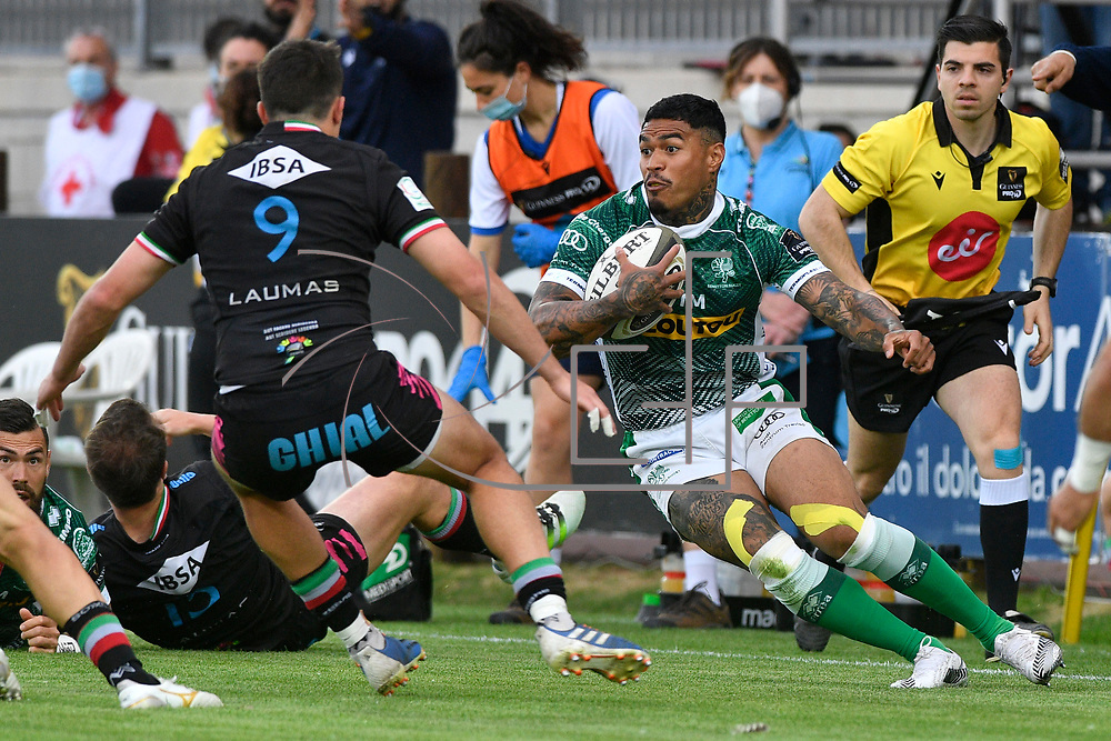 Parma, Italy, 07/05/2021Stadio Lanfranchi<br /> Guinness PRO14 Rainbow Cup<br /> Zebre Rugby vs Benetton Treviso <br /> <br /> Monty Ioane