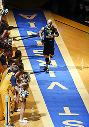Feb 10, 2018; Morgantown, WV, USA; West Virginia Mountaineers guard Jevon Carter (2) is announced before the game against the Oklahoma State Cowboys at WVU Coliseum. Mandatory Credit: Ben Queen-USA TODAY Sports