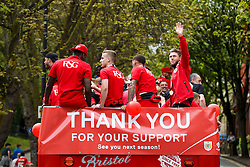 Wes Burns waves during the Bristol City open top bus parade to celebrate winning both the League 1 and Johnstone's Paint Trophy titles this season and promotion to the Championship - Photo mandatory by-line: Rogan Thomson/JMP - 07966 386802 - 04/05/2015 - SPORT - FOOTBALL - Bristol, England - Bristol City Bus Parade.