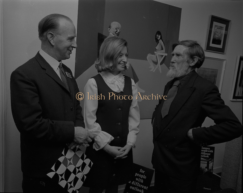 """04/07/1969.07/04/1969.4th July 1969.Sean Keating at an exhibit of a representative selection of the exhibits in the RTE Regional Arts awards from Limerick  shown in the Tintawn showroom in South KIng Street, Dublin...Sean Keating.Sean Keating (1889-1977).Portrait and figure painter, John Keating was born in Limerick on 28th September 1889...Examples: Armagh: County Museum. Ballinasloe, Co. Galway: St Joseph's College. Beijing: Irish Embassy. Belfast: Dublin Institute for Advanced Studies; Passionist Retreat, The Graan. Galway: National University of Ireland. Glasgow: Art Gallery and Museum. Kilkenny: Art Gallery Society. Clongowes Wood College. Oldham, Lancs: Art Gallery and Museum. Rome: Irish College. Sligo: Model and Niland Centre. Tralee, Co. Kerry: St John's Church. Waterford: City Hall, Municipal Art Collection. Electricity Supply Board; Federated Workers' Union of Ireland; Hugh Lane Municipal Gallery of Modern Art; Institution of Engineers of Ireland; McKeeBarracks; Mansion House; National Gallery of Ireland; National Museum of Ireland; Office of Public Works; Pharmaceutical Society of Ireland; University College (Newman House; Earlsfort Terrace). Dundrum, Co. Dublin: Carmelite Fathers, Gort Muire. Enniskillen, Co. Fermanagh: Ulster Museum. Bray, Co. Wicklow: Letterkenny, Co. Donegal: St Eunan's Cathedral. Limerick: City Gallery of Art; County Library; University, National Self-Portrait Collection. Naas, Co. Kildare:  Public Library. Brussels: Mused Modeme. Cork: Collins Barracks; Crawford Municipal Art Gallery. Dublin: Aras an Uachtar~in; Church of Ireland See House, Temple Road, Milltown; Church of St Therese, Mount Merrrion; Church of the Holy Spirit, Ballyroan; Co. Dublin Vocational Education Committee;.Literature: Royal Dublin Society Report of Council, 1""""4; The Studio, May 1915, July 1917, September 1923 (also illustration), July 1914, October 1924, November 1951; Seumas O'Brien, The Whale and the Grasshopper, Dublin 1920 (illustration); Dublin Magazine"""