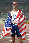 Sep 21 2007; Osaka, JAPAN; Jeremy Wariner takes victory lap after anchoring USA 4x400m relay to victory in 2:55.56 in the 11th IAAF World Championships at Nagai Stadium.