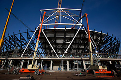 Olympic Stadium. Stadium roof truss being fitted into place on top of the Stadium's steel rakers. Picture taken on 27 Jan 2009 by David Poultney.<br /> <br /> <br /> <br /> <br /> <br /> <br /> <br /> <br /> <br /> <br /> <br /> <br /> <br /> <br /> <br /> <br /> <br /> <br /> Olympic Stadium. Stadium roof truss being fitted into place on top of the stadium's steel rakers. Picture taken on 27 Jan 2009 by David Poultney.