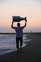 17 June 2007:  Player Brad May on location during NHL Stanley Cup visits Newport Beach, CA at sunset for a photo shoot with fans.  Anaheim Mighty Ducks won the NHL Trophy on June 6, 2007 in Orange County, CA.
