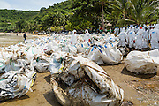 02 AUGUST 2013 - KOH SAMET, RAYONG, THAILAND: Workers stand amidst bags full of contaminated supplies used to clean Ao Prao beach on Koh Samet island. About 50,000 liters of crude oil poured out of a pipeline in the Gulf of Thailand over the weekend authorities said. The oil made landfall on the white sand beaches of Ao Prao, on Koh Samet, a popular tourist destination in Rayong province about 2.5 hours southeast of Bangkok. Workers from PTT Global, owner of the pipeline, up to 500 Thai military personnel and volunteers are cleaning up the beaches. Tourists staying near the spill, which fouled Ao Prao beach, were evacuated to hotels on the east side of the island, which was not impacted by the spill. Officials have not said when Ao Prao beach would reopen. PTT Global Chemical Pcl is part of state-controlled PTT Pcl, Thailand's biggest energy firm.    PHOTO BY JACK KURTZ