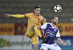 January 10, 2018 - Tubize, BELGIUM - Tubize's Maxence Carlier and Beerschot's Erwin Jimmy Hoffer fight for the ball during a soccer game between AFC Tubize and Beerschot-Wilrijk, in Tubize, Wednesday 10 January 2018, on day 19 of the division 1B Proximus League competition of the Belgian soccer championship. The game was postponed because of bad weather conditions on December 10th. BELGA PHOTO JOHN THYS (Credit Image: © John Thys/Belga via ZUMA Press)
