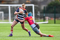 Bertie Scoble of Bristol Academy U18 is tackled by Jack Potter of Harlequins Academy U18 - Mandatory by-line: Craig Thomas/JMP - 03/02/2018 - RUGBY - SGS Wise Campus - Bristol, England - Bristol U18 v Harlequins U18 - Premiership U18 League
