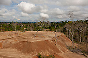 Sediment mounds from gold extraction in the mining corridor in the Peruvian Amazon. San Jose de Kareme, Peru.