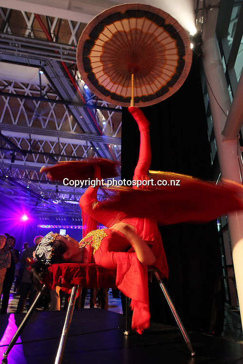 Chinese acrobats perform during New Zealand's major international tourism trade <br /> show. TRENZ Welcome Function. Viaduct Events Centre, Auckland, New Zealand. Sunday 21 April 2013. Photo: Fiona Goodall / Photosport.co.nz
