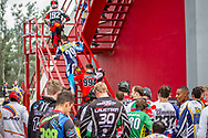 Riders waiting to get up the stairs to the start gate at the 2016 UCI BMX Supercross World Cup in Santiago del Estero, Argentina